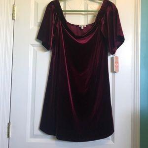 Maroon off the shoulder velvet dress